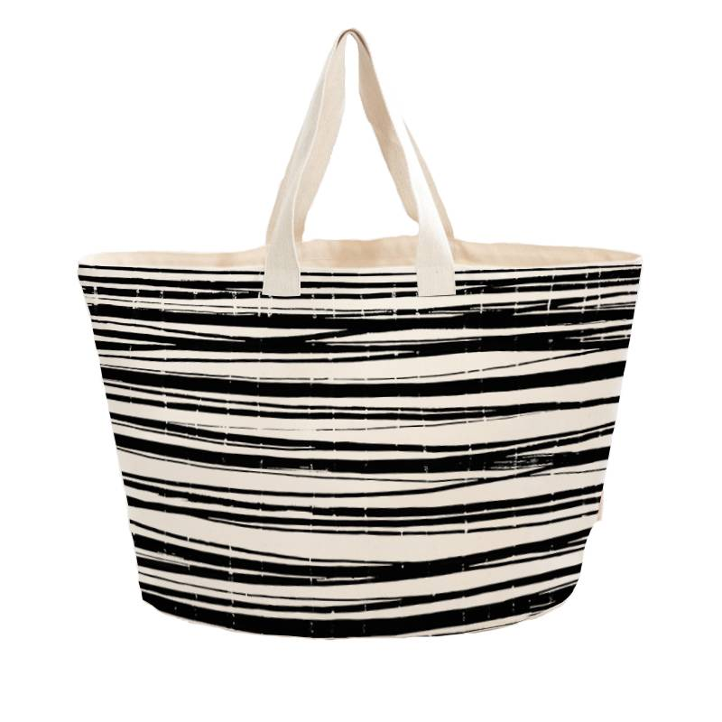 Strandtas met print Wrapping stripes - heavy canvas - 60x38cm
