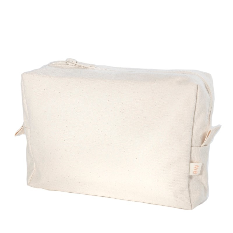 Cosmetic bag L of 100% organic cotton canvas