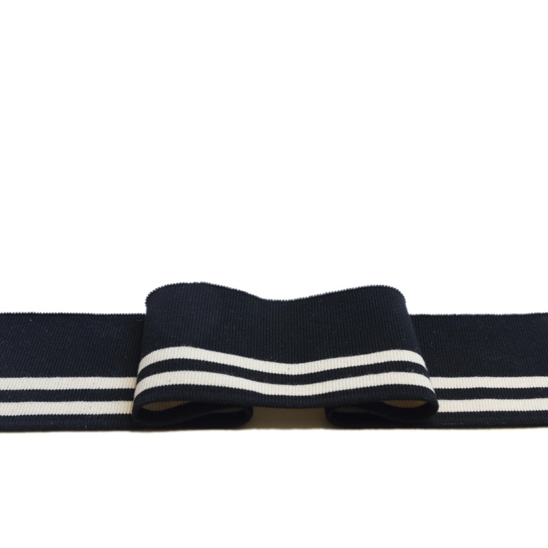 Cuffs ready-to-use 1x1 ribbing with 5% elasthan - black/white stripe