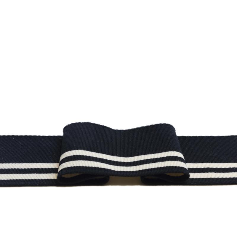 Gebrauchsfertige Manschetten mit 5% Elasthan - schwarz und weiß gestreift