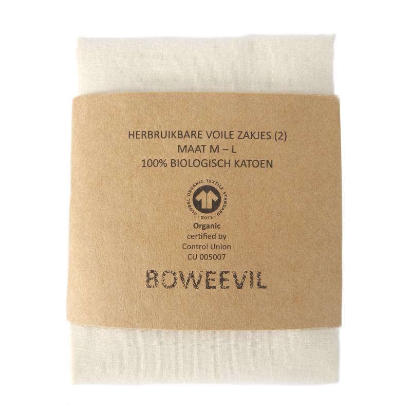 Set of 2 voile bags M+L (wrap Dutch text)