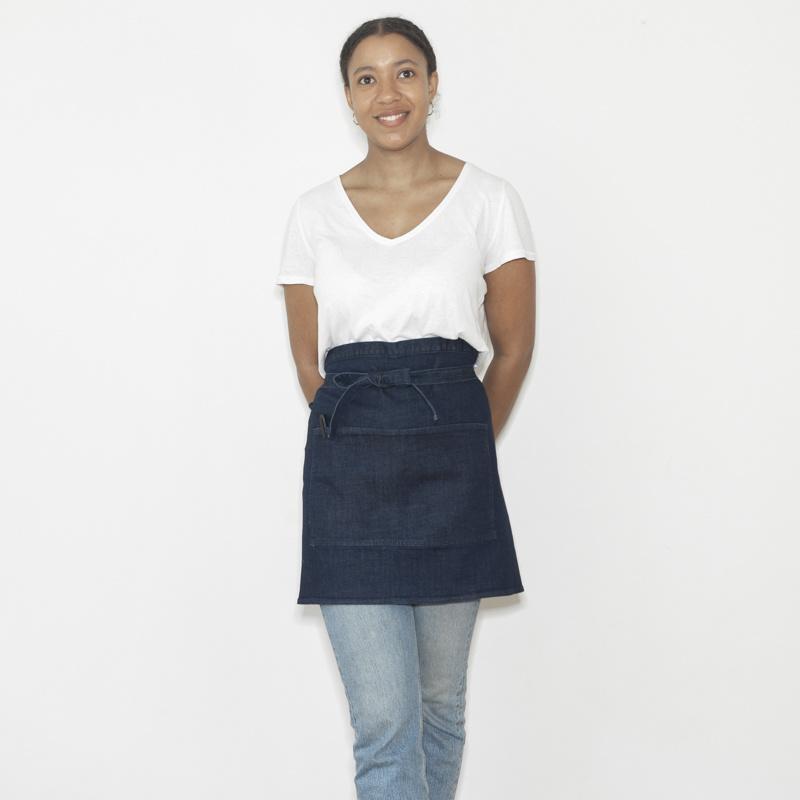 Short catering apron  - heavy denim