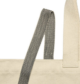 Geweven  band zwart met wit - 25 mm