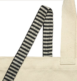 Woven tape with a black and white zigzag pattern - 25 mm