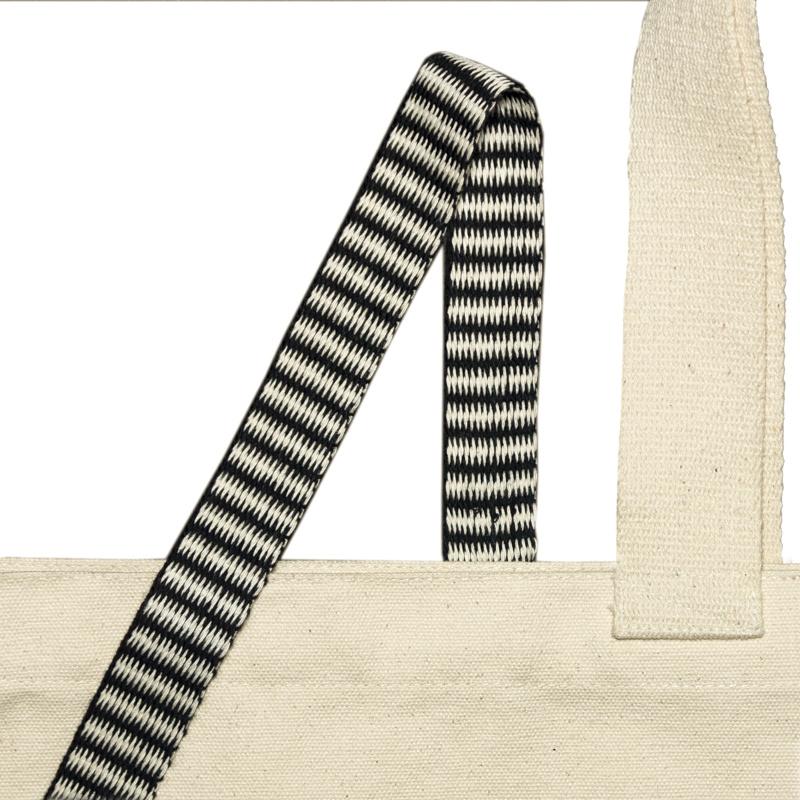 Gewebeband mit Schwarz Weiß Zickzackmuster 25mm aus Bio-Baumwolle