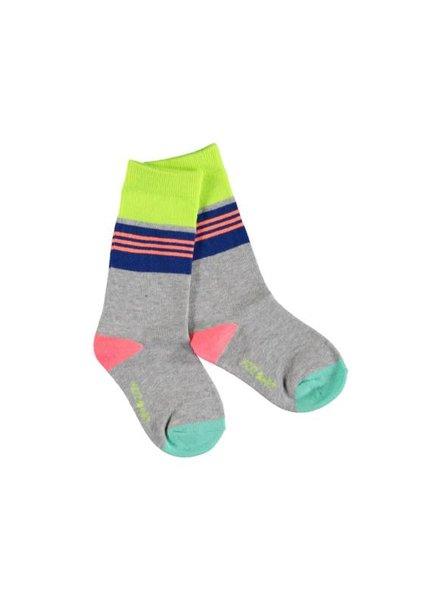 Kidz Art Girls knee high socks stripes Color: grey melee