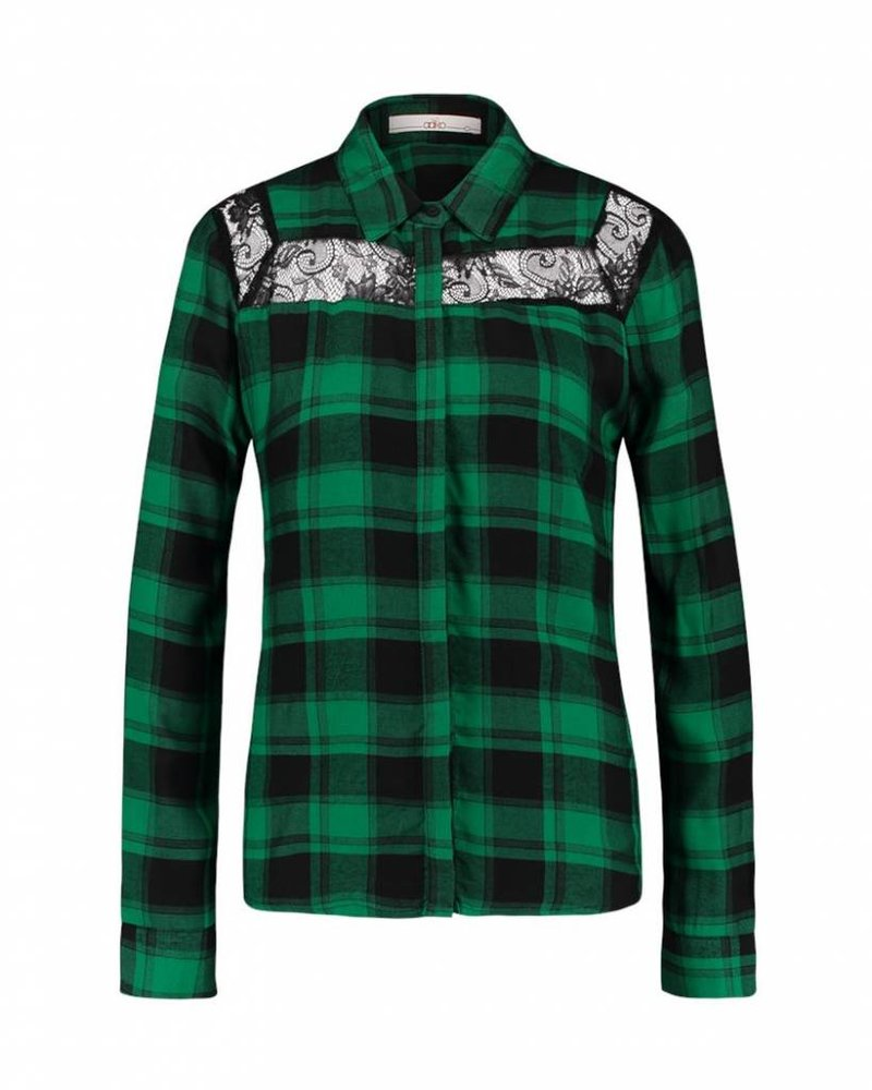 AI&KO Geruite blouse met kant Color: Black and green