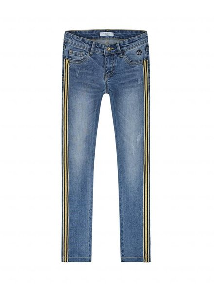 NIK & NIK Girls stripe denim Fiona Color: mid blue denim