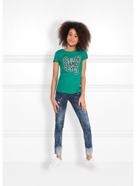 NIK & NIK Girls Bambi eyes t.shirt Color: lagoon green