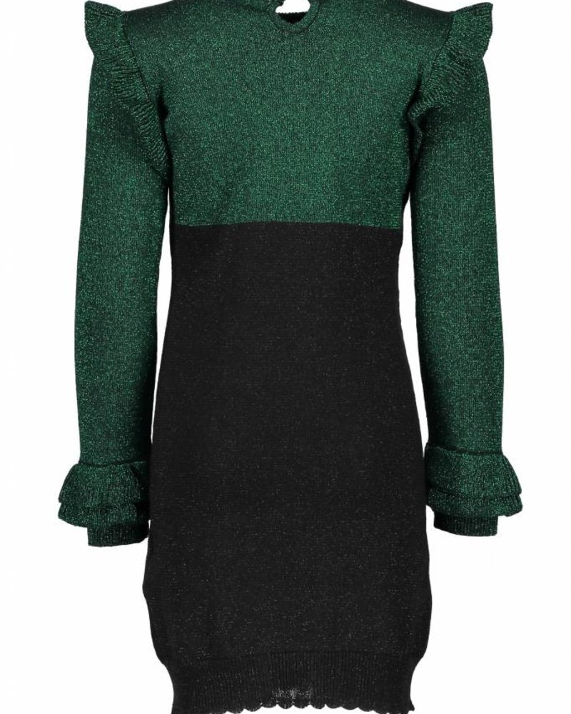 B.nosy  girls knitted lurex dress with ruffles on shoulders and cuffs Color: metallic green
