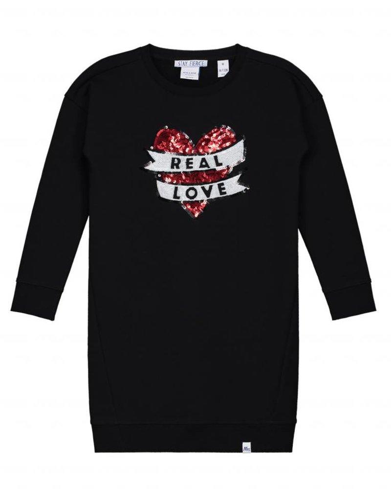 NIK & NIK Girls sweat dress Real Love Color: black