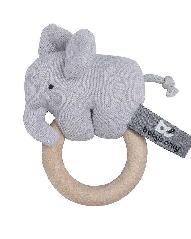 Baby's Only Houten rammelaar Color: olifant zilvergrijs