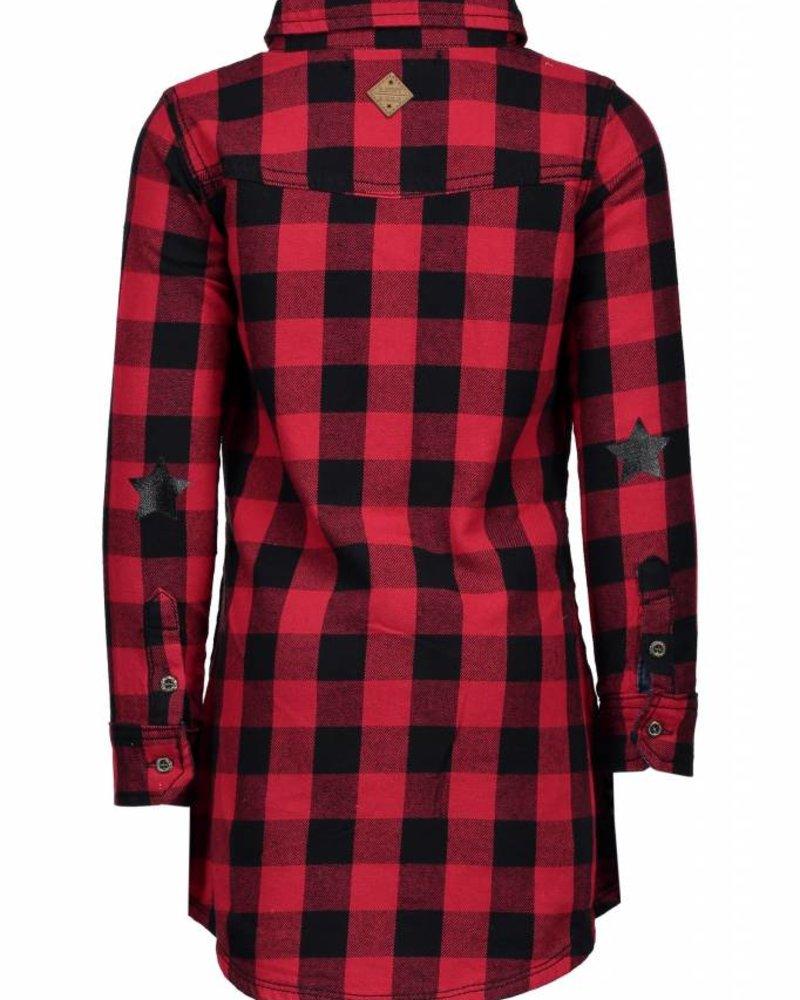 B.nosy Girls check dress with denim details