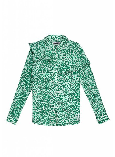 NIK & NIK Girls blouse Olga Color: leopard jade green