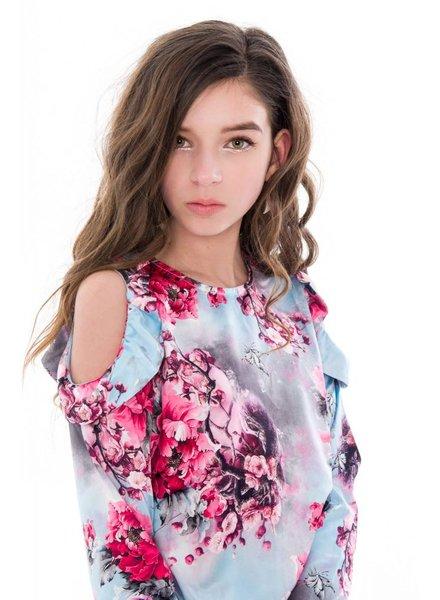 Frankie & Liberty Girls blouse Honey Color: flower print