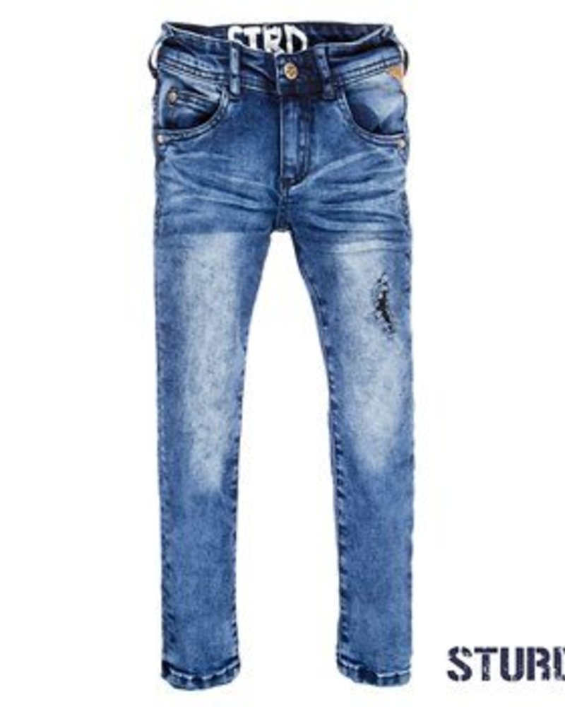 Sturdy Boys Power stretched destroyed denim Color: blue denim