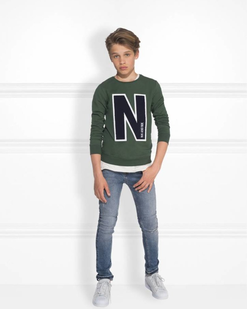 NIK & NIK Boys sweater Color: wood green