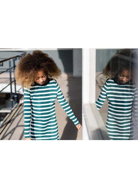 Levv Labels Girls dress Babine Color: emerald green stripe