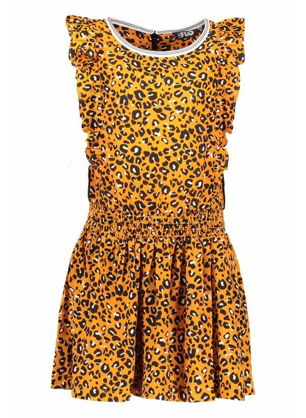 Like Flo Flo girls oker panther  sleeveless ruffles dress