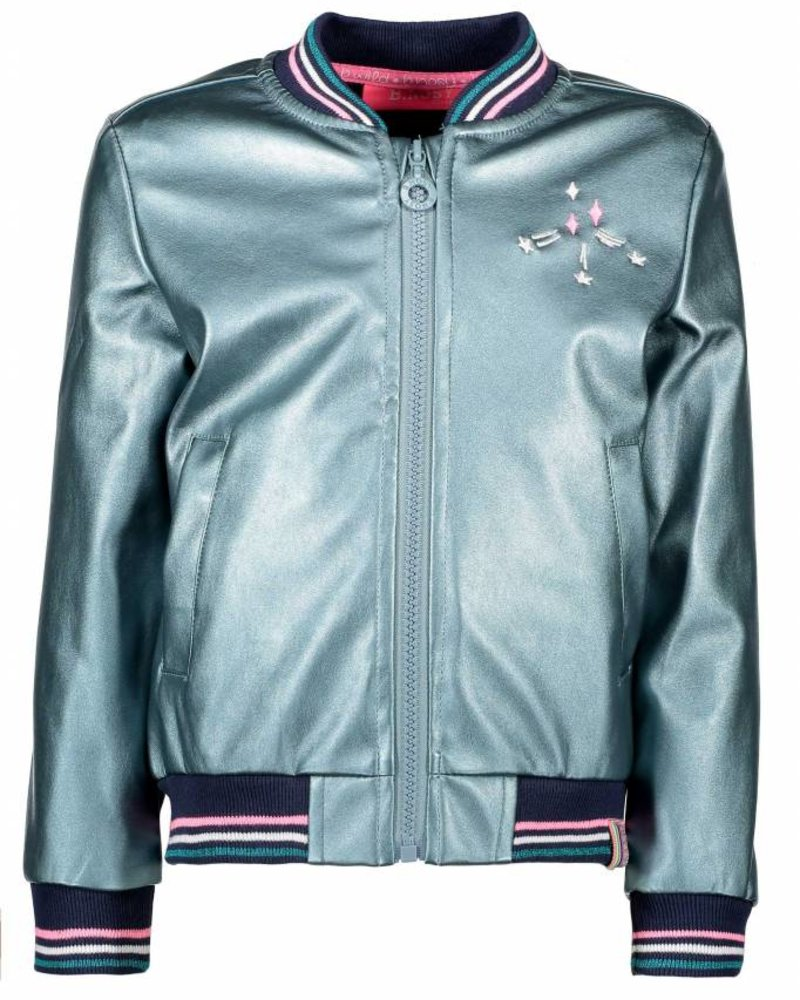 B.nosy Girls fake leather jacket with color stripe