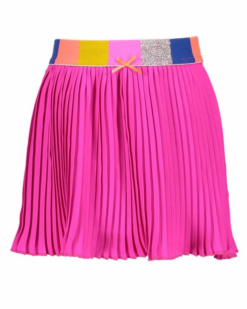 Kidz Art Satin pleated skirt - neon fuchsia