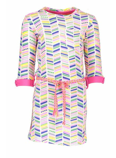 Kidz Art Dress roll-up sleeves allover print