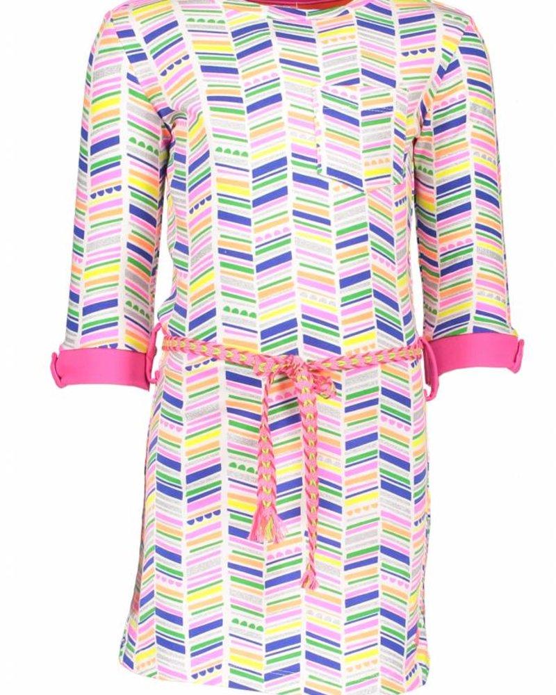 Kidz Art Dress roll-up sleeves allover print