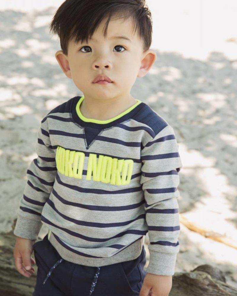 Koko Noko Sweater grey melee  - navy stripe