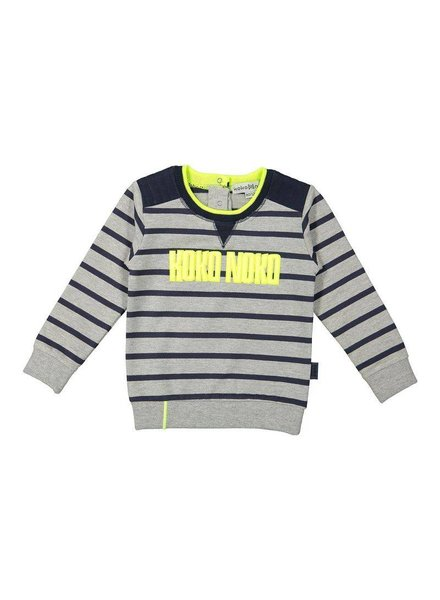 Koko Noko Sweater grey melee  - navy stripe