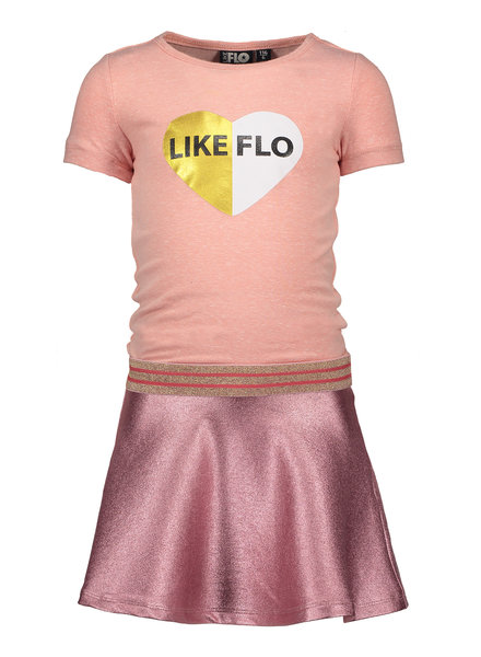 Like Flo Flo girls jersey dress with foil sweat skirt