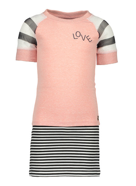 Like Flo Flo girls jersey dress with striped skirt