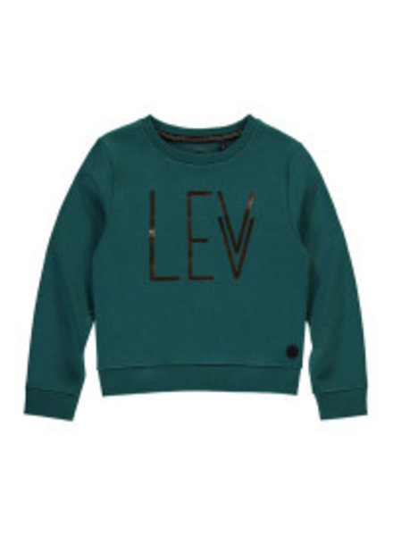Levv Labels Girls sweatshirt met logo Color Emerald green