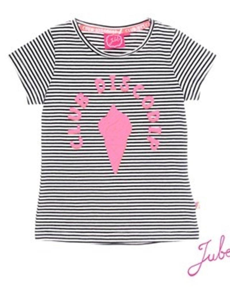 Jubel Girls T.Shirt k/m streep Disco Dip Color: black