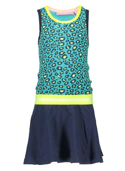 B.nosy Girls jersey dress with rib neck - turquoise
