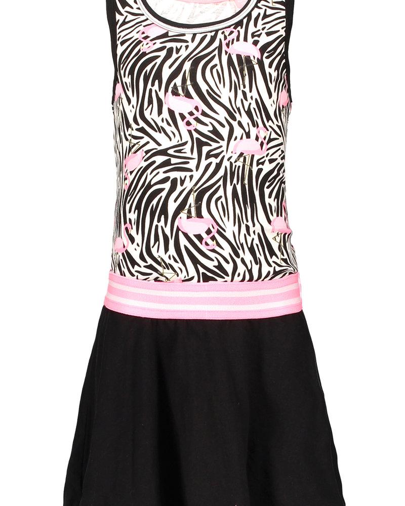 B.nosy Girls jersey dress with rib neck - flamingo
