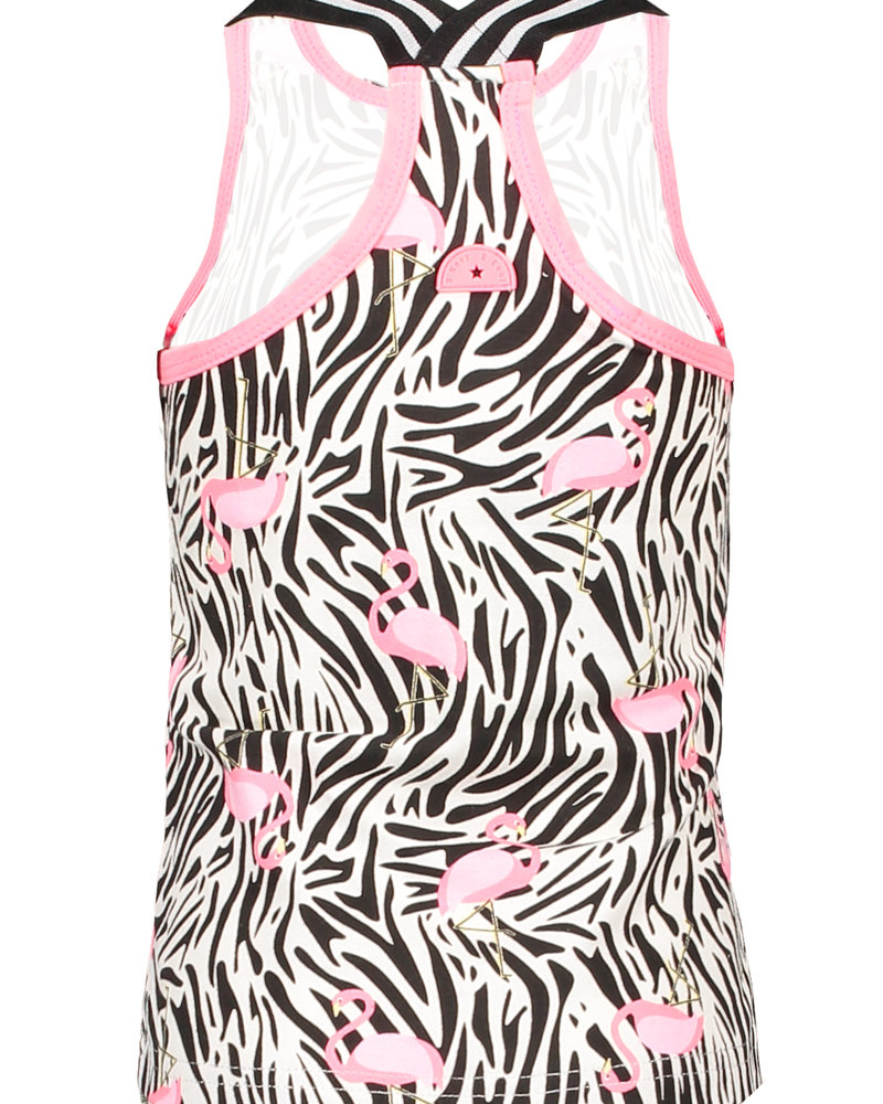 B.nosy Girls jersey singlet with singlet - white flamingo