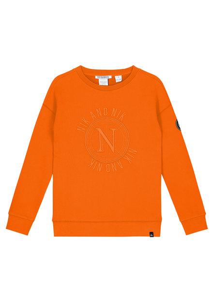 NIK & NIK Boys Abel Sweater Color: carrot orange