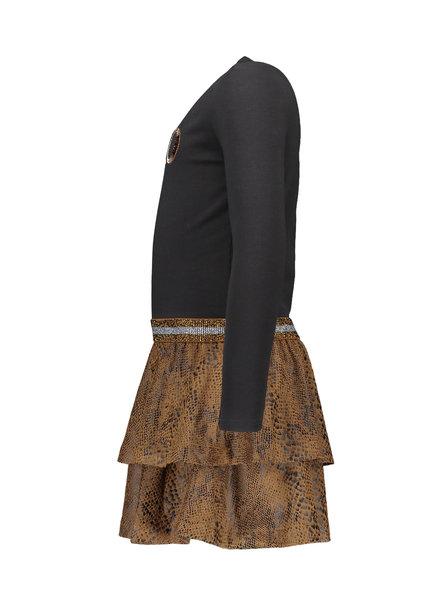 Like Flo Girls Suede snake jersey dress Color: camel