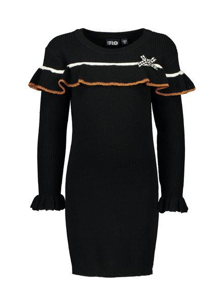 Like Flo Girls knitted ruffle dress Color: black