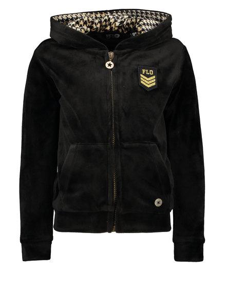 Like Flo Girls Hooded velvet Cardigan Color: black