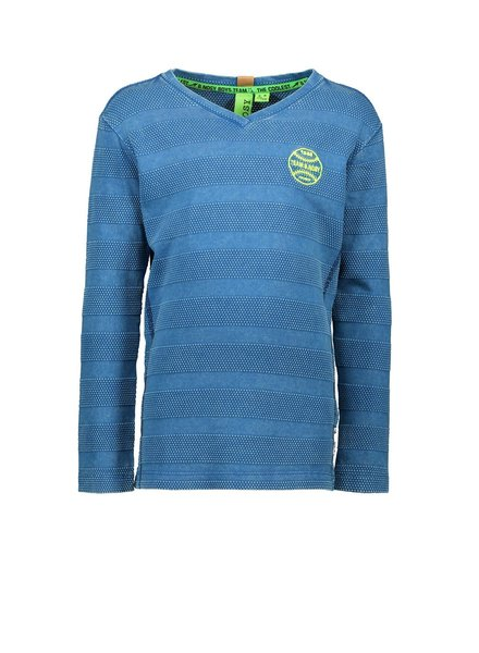 B.nosy Boys Shirt LS Quilted cotton Color: deep sea