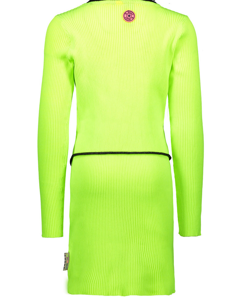 B.nosy Girls rib dress with elastic in waist color: lime