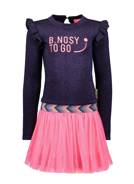 B.nosy Girls lnitted dress with netting skirt Color: grape purple