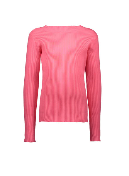 B.nosy Girls Rib Shirt with Coll Color: shocking pink