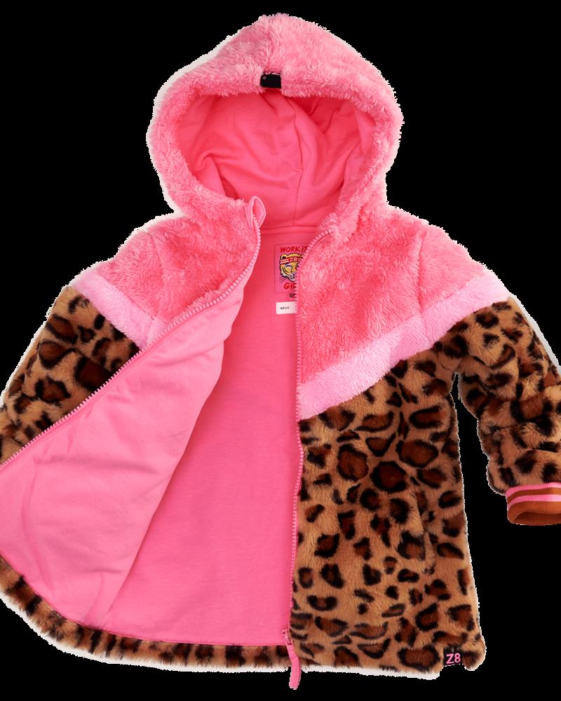 Z8 Girls Teddy Jacket Sandy Colo: leopard/popping pink