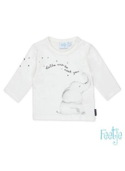 Feetje Baby Shirtje longsleeve Olifant: Color: white