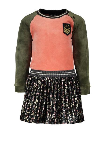 Like Flo Baby Girl velvet colour block dress, Color: flower velours