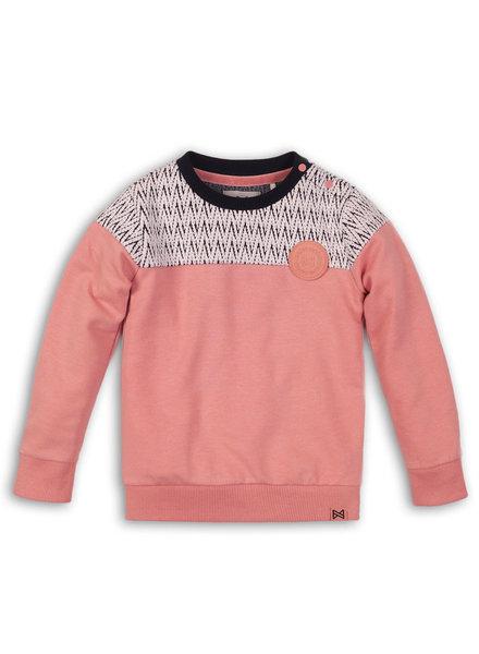 Koko Noko Meisjes sweater roze met zigzag print