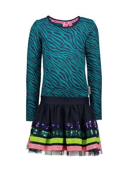 B.nosy Girls sequinces stripe dress, with glitter zebra top part