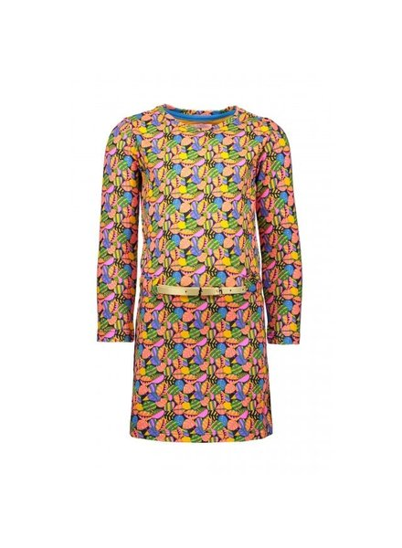 Kidz Art Girls dress l/s allover leafs + golden belt